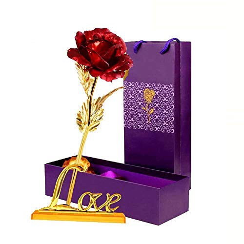 LOMIRO Girlfriend Gifts ❤️24K Gold Foil Rose Flower with Love Base❤️Gifts for Her,Mom ❤️ on Valentine's Day,Mother's Day,Christmas,Thanksgiving,Anniversary,Birthday,Special Days (Red)❤️
