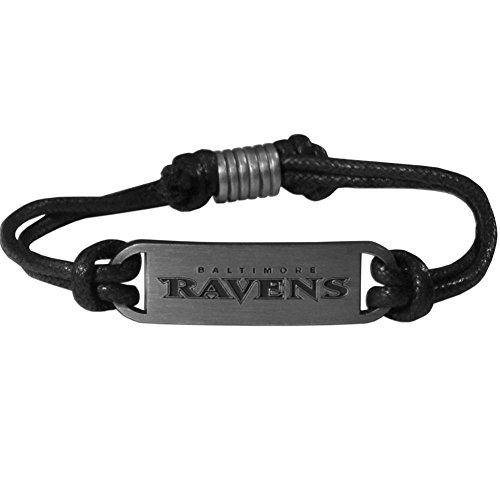 Baltimore Ravens Black Leather - Siskiyou NFL Baltimore Ravens Cord Bracelets, Adjustable