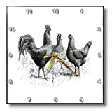 Cheap 3dRose DPP_100976_2 Black and White Vintage Drawing of Chickens and Rooster-Wall Clock, 13 by 13-Inch
