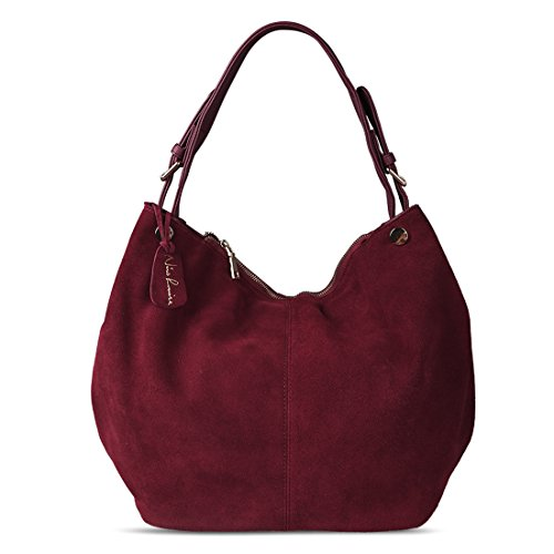 Nico Louise Women's Genuine Leather Suede Purse Shoulder Bag Casual Hobo bag Burgundy by Nico Louise