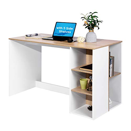 Beech Bookcase - Coavas Office-Computer Desk with Storage, Study-Work Desk with 5 Shelves, Students-Writing Desk Home Laptop Study Table Modern Wood Hutch Large Workstation with Bookcase BREN11 /Beech and White
