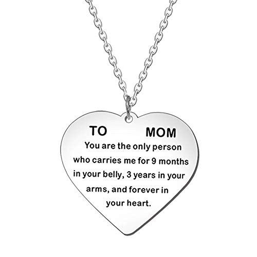 Kisseason Jewelry for Mom Mother Heart Charm Pendant Necklace from Son Daughter Fashion Chain Necklace