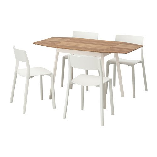 Ikea Table and 4 chairs, bamboo, white 14204.20514.3410