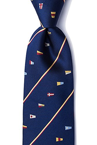 Men's 100% Silk Navy Blue Nautical It's Boating Time Signal Flags Tie Necktie -