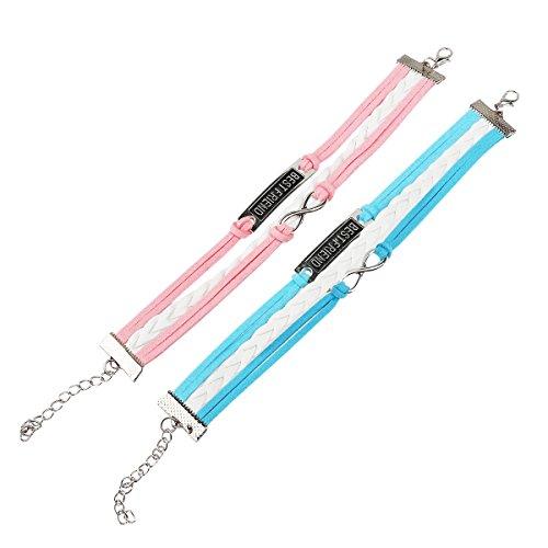 WINOMO Adjustable Friendship PU Bracelet Wirstband with Best Friend - 2pcs