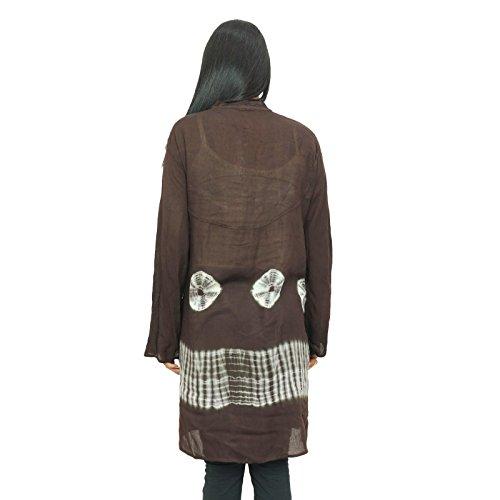 Rayón Kurti de manga larga bordada verano la ropa del desgaste del teñido anudado impreso Kurti Negro