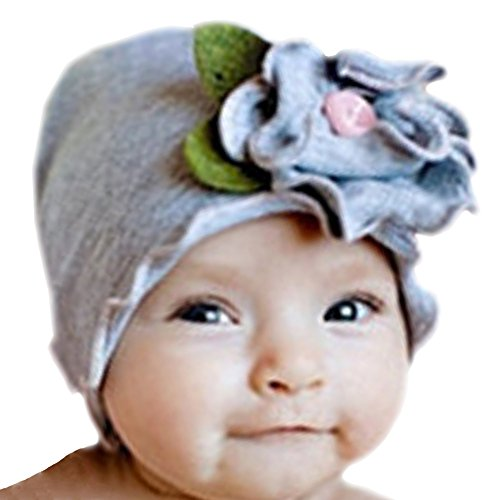 Infant Baby Girls Soft Cotton Beanie Flower Hat Toddler Cap (gray)
