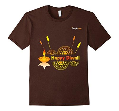 Mens Inspiritee - Happy Diwali - T Shirt 3 2XL Brown by Inspiritee