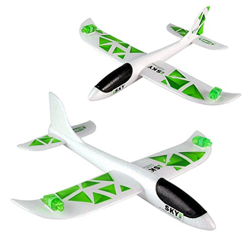 Funny Flying Toy for Kids Baomabao Foam Throwing Glider Airplane Inertia Led Night Flying Aircraft Toy Hand Launch Airplane Model (Green) ()