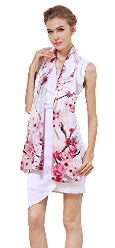 - Grace Scarves 100% Silk Scarf, Oblong, Sateen, Cherry Blossoms, White