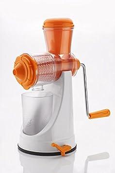 Kitchen Bazaar Deluxe Juicer Mixer Grinder with Steel Handle and Pusher (White/Orange) Juicer Mixer Grinders at amazon