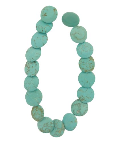 Tennessee Crafts 1622 Semi Precious Dyed Howlite Heishe 18-Piece Beads, 14 by 4mm, Turquoise