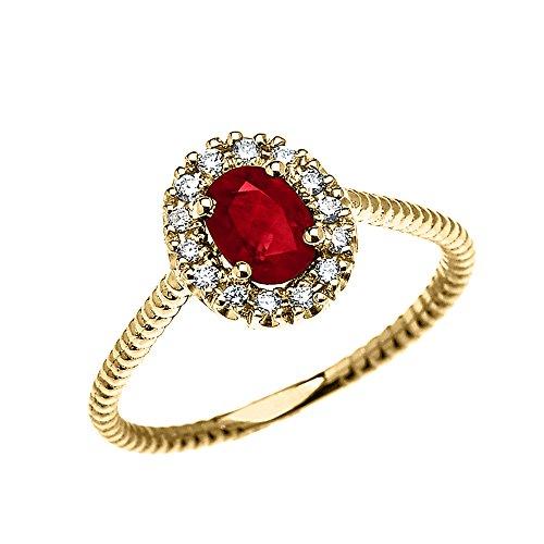 Bague Femme/ Bague De Fiançailles 14 Ct Or Jaune Diamant Et Ovale Rubis Solitaire Conception De Corde