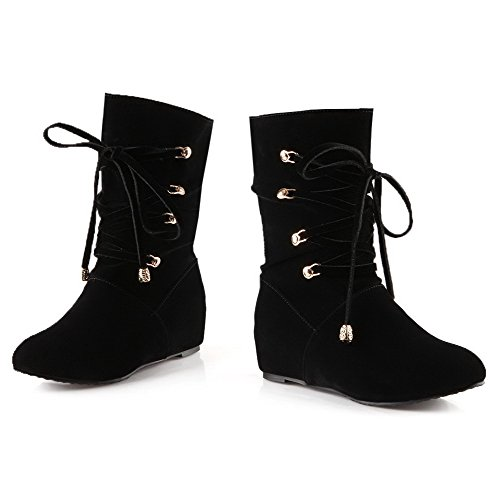 Women's Kitten-Heels Solid Round Closed Toe Frosted Lace-up Boots