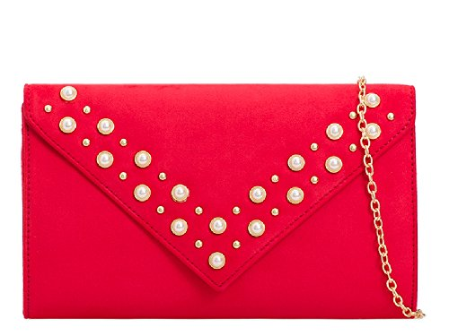 Suede Red Party Pearl Purse Faux Clutch Women's KL2102 Bag Ladies Cocktail Handbag Bridal x7AZ5