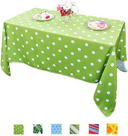 Eternal Beauty Polyester Outdoor Tablecloth Rectangular Spillproof for Fall Patio Picnic BBQ Green Polka Dot, 60x84inch