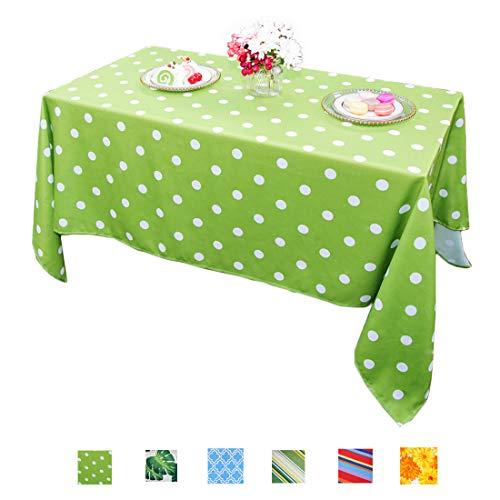 Eternal Beauty Polyester Outdoor Tablecloth Rectangular Spillproof for Summer Patio Picnic Dining BBQ (Green Polka Dot, -