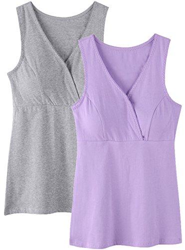 SUIEK Women Maternity Nursing Tank Top Camisole Sleep Bra For Breastfeeding (Large: Fits for Weight 150-170 lb, Purple + Grey (2PCs Camisole))