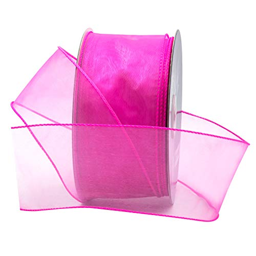 Dark Hot Pink Organza Wired Sheer Ribbon 2.75