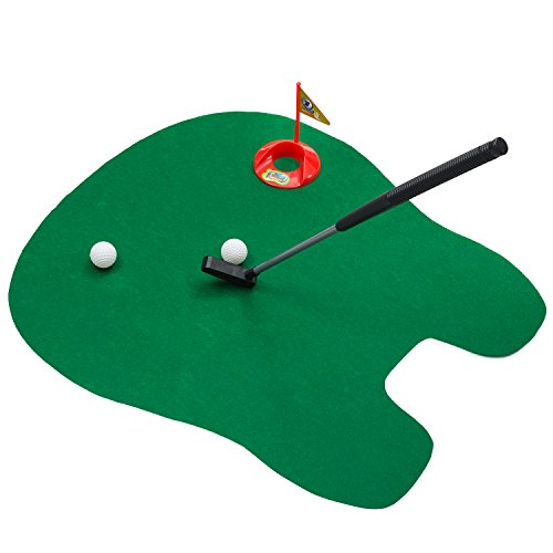 Leeploop Potty Putter Toilet Putting Mat Golf Game for Bathroom - Funny Toy Training Accessory for Men Women and Kids - Perfect Mini Golf Novelty Gag Gift Set, Green