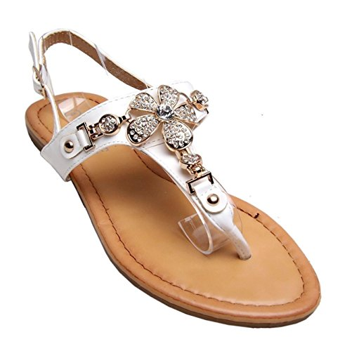 Zapatos Sandalias Bar Summer Flat Gold Beach Diamante Floral Straps Womens T Blanco Hebilla wxqIAC1T