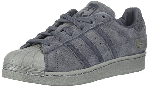 adidas Originals Boys' Superstar J Running Shoe, Grey Five/Utility Black/Metallic Gold, 3.5 Medium US Big Kid