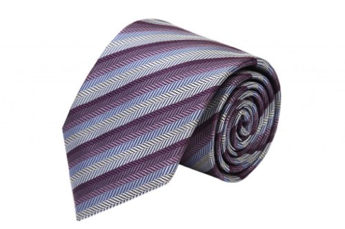Zavetti Men's Tie Jacquard Woven Silk Herring Stripe Purple with (Herring Stripe)