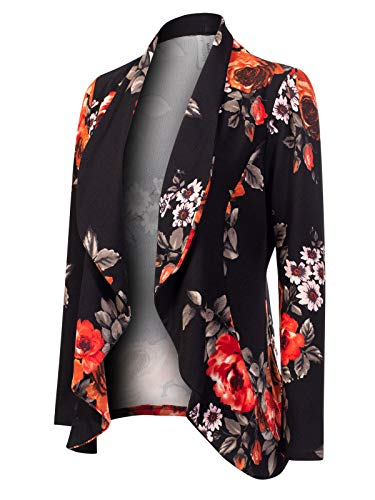 MixMatchy Women's [Made in USA] Solid Formal Style Open Front Long Sleeves Blazer (S-3X) Black Flower Print L ()