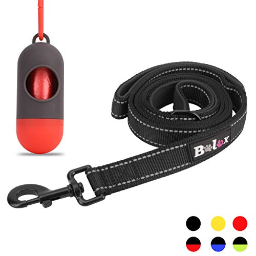 Bolux 3M Reflective Dog Leash 5ft Long with Traffic Padded Handle, Heavy Duty, Double Handle Lead for Greater Control Safety Training, Perfect for Large or Medium Dog, Dual Handles (Black)