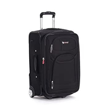 Delsey Luggage Helium Fusion Light 21 Inches Expandable Carryon, Black, One Size