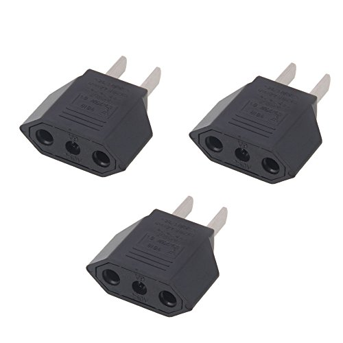 MicroMall(™) 3PCS EU Europe to US USA Travel Power Plug Adapter Converter Black