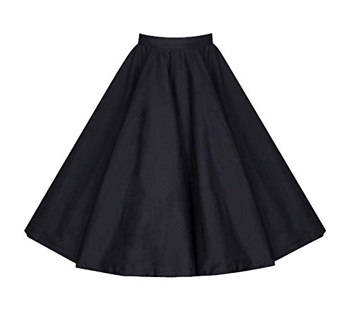 Cotton Skirt Circle (Killreal Women's Casual Knee Length High Waisted Flare Midi A Line Full Circle Formal Skirt Black Small)
