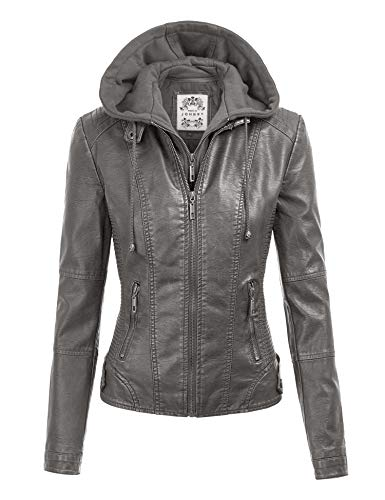 Made By Johnny MBJ WJC1044 Womens Faux Leather Quilted Motorcycle Jacket with Hoodie XXL Grey (Best Quilted Jacket Womens)