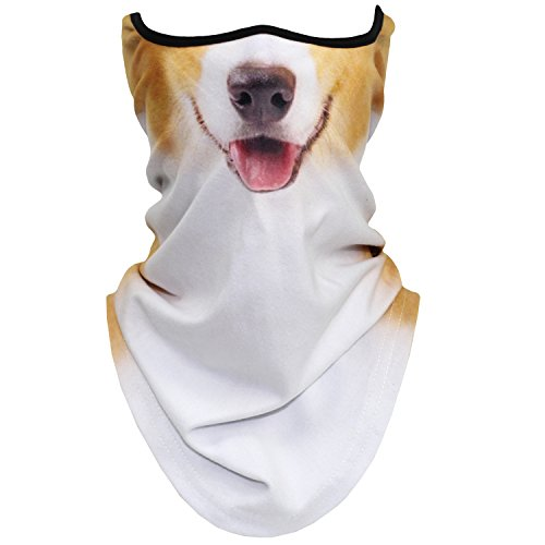 AXBXCX Animal 3D Prints Neck Gaiter Warmer Half Face Mask Scarf Windproof Dust UV Sun Protection for Skiing Snowboarding Snowmobile Halloween Cosplay Corgi Dog