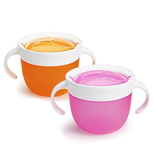 - Munchkin 2 Piece Snack Catcher, Pink/Orange
