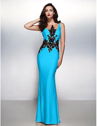 Jersey Gala Con Negro Cuello Cepillo Blue Tren Barrer Trompeta Noche HY Sirena Prom amp;OB Apliques Formal Boca De Lazo Vestido 8WCwqcaS