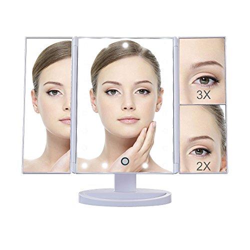Makeup mirror with light, DELIPOP 2x3x Magnifyi...