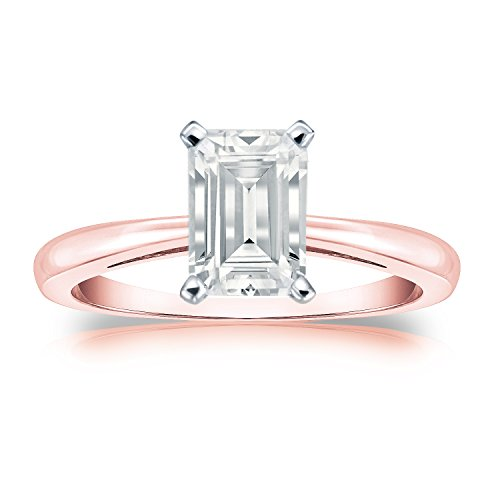 Diamond Wish 14k Rose Gold Emerald-cut Solitaire Diamond Engagement Ring (1 carat TW, IGI Certified, White, I1-I2) 4-Prong Set, Size 6 Ct Tw Diamond Emerald Ring
