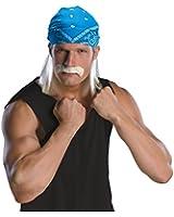 Wrestling Star Wig & Mustache Costume Accessory
