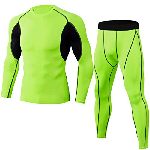 Outique Men's Sportswear Suit,Elastic Fitness Long Sleeve Fast Drying Tops Pants Sports Tight Suit Bike Jerseys Mint Green ()