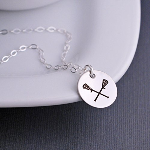 Silver Lacrosse Necklace Lacrosse Sticks Jewelry Gift Lax