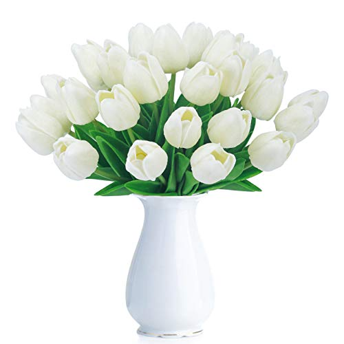 Bomarolan Artificial Tulip Fake Holland Mini Tulip Real Touch Flowers 24 Pcs for Wedding Decor DIY Home Party (Cream) ()