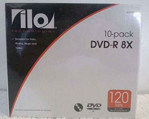 DVD-R 8X ILO Technologies 10 Pack 120 min 4.7 GB 8 Multispeed For Data , Photos , Music and Video