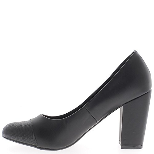 Zapatos retro de gran tamaño negro grueso tacón 10 cm material bi