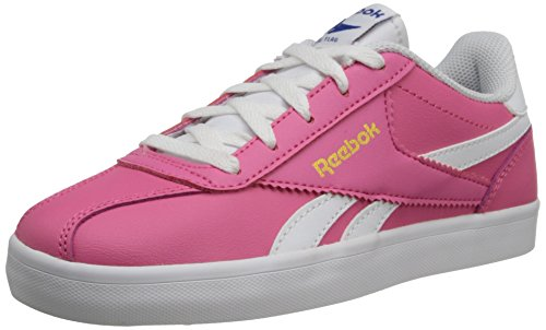 Reebok Royal Alperez Classic Shoe (Little Kid/Big Kid),Happy Pink/White/Gold Metallic/Royal,7 M US Big Kid