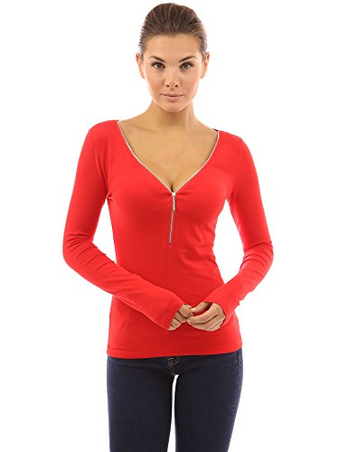 PattyBoutik Women's 1/2 Zip Front V Neck Blouse (Bright Red ()