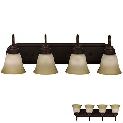 Four Globe Bathroom Vanity Light Bar Bath Fixture, Oil Rubbed Bronze Alabaster Glass