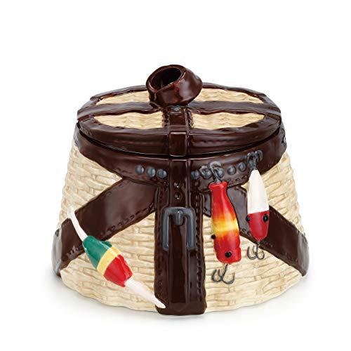 Vintage Fishing Creel Natural Brown 8 x 7 Glossy Ceramic Lake House Cookie Jar ()