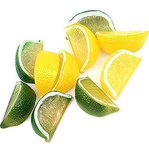 Kansoo 10pcs Fake Lemon Wedge Slice Garnish Artificial Fruit Lemon Block Faux Food House Bar Decoration Cocktail Party Arrangement(Green Yellow,Each Color 5Pcs) 57