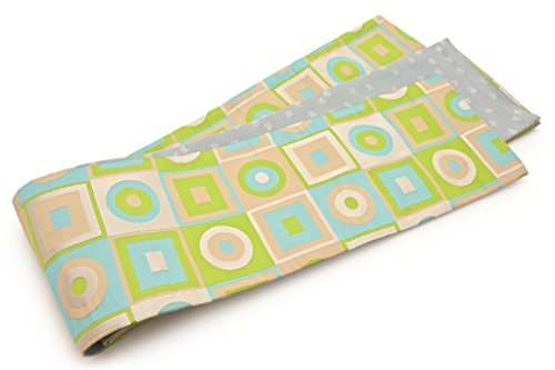 正午受け入れたカーペット半幅帯 おりびと 織美桐 ベージュ 水色 四角 幾何学